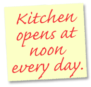 Kitchen opens at 3 pm